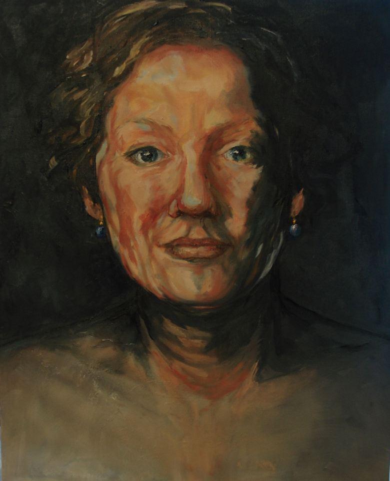 Model met Blauwe Parels, Olieverf op canvas, 40 x 50 cm, 2008