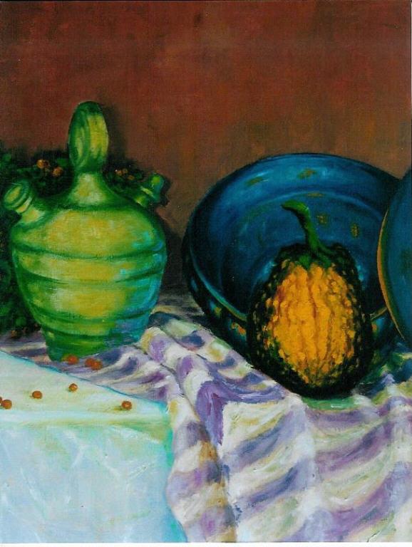 Blauwe schaal met kruik, olieverf op canvas, 60 x 50 cm, 2003