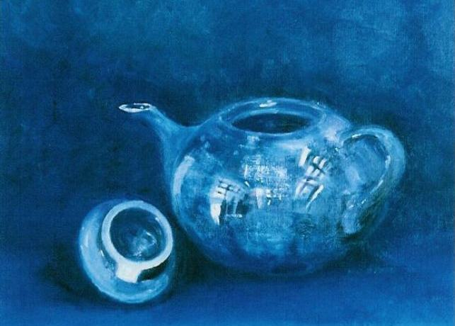 Blauwe Theepot, olieverf op canvas, 50 x 60 cm, 2003, VERKOCHT
