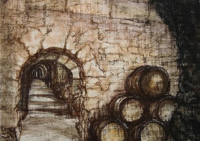 Bodega (Marbella), pastel & conté op canvaspapier, 50 x 40 cm, 2011