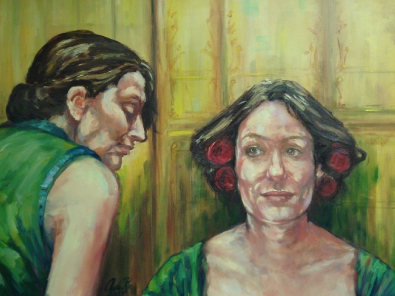 Fiësta: Kleedkamer (Marbella,Spanje), olieverf op canvas, 90 x70 cm, 2007