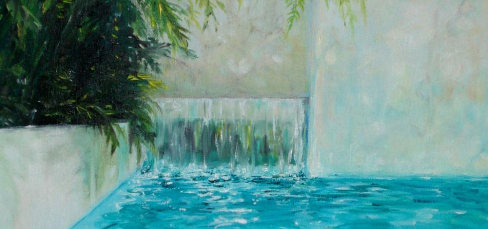 La Vie en Rose (Côte d'Azur), olieverf op canvas, 40 x 40 cm, 2009