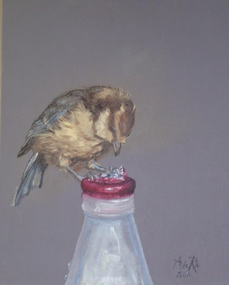 Mus (Passer Domesticus), olieverf op canvas, 50 x 40 cm, 2008, VERKOCHT