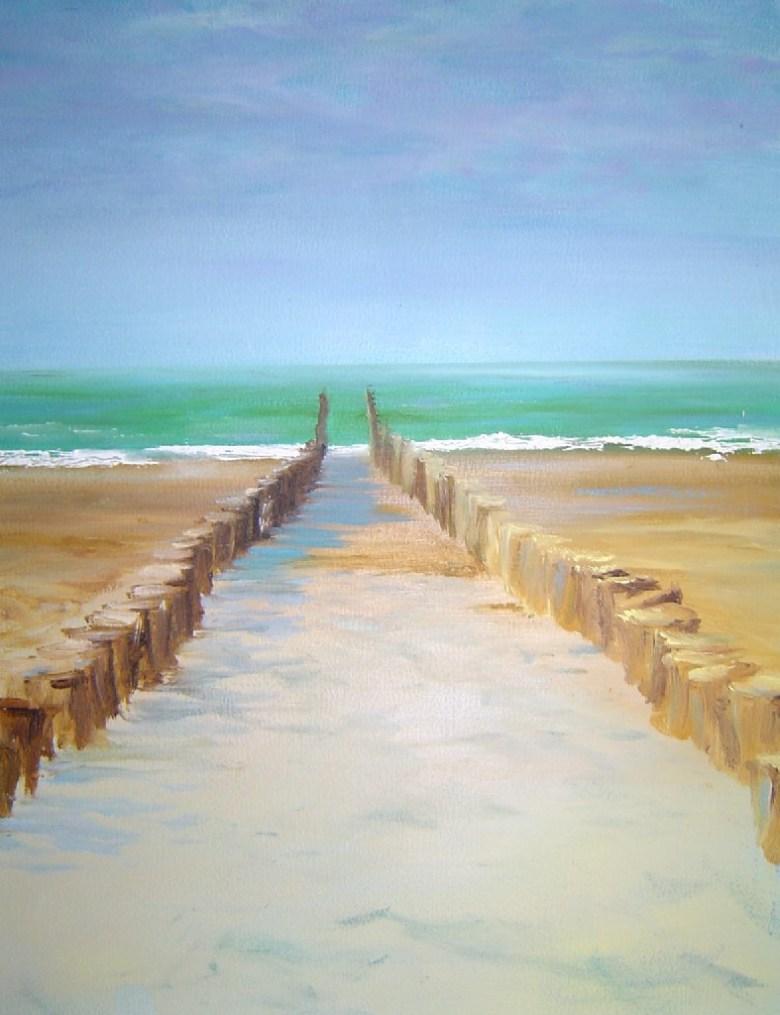 Strandopgang Zeeland, olieverf op canvas, 30 x 20 cm, 2004, VERKOCHT