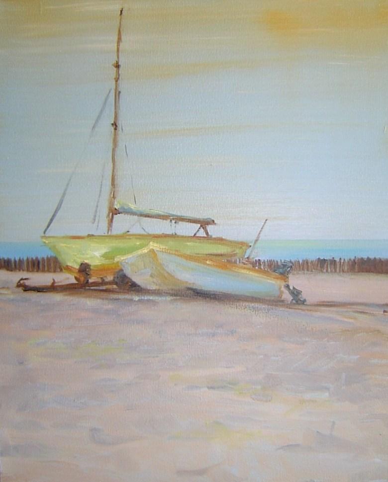 Zeilschip in ruste, olieverf op canvas, 30 x 20 cm, 2004, VERKOCHT
