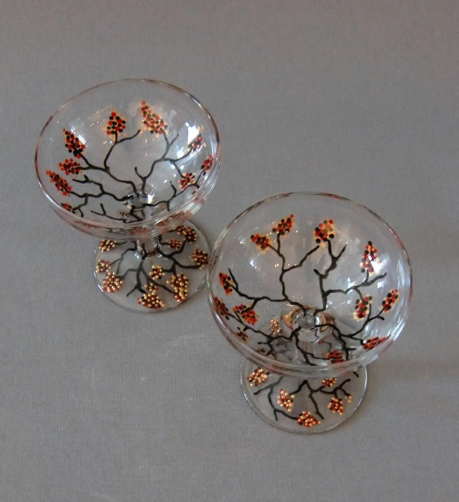 Glazen 'Wintertakjes', gebrandschilderd glas, 10 x 7 cm, 2013