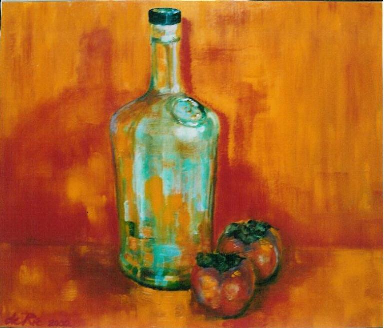 Fles met Passievruchten, olieverf op canvas, 50 x 60 cm, 2003, VERKOCHT