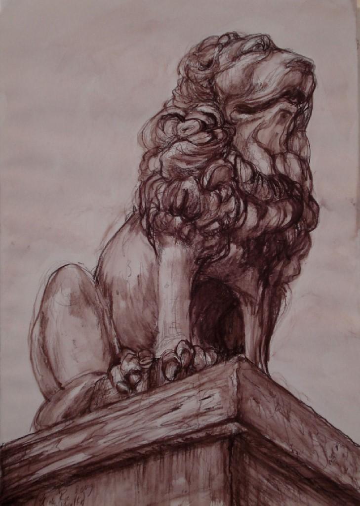 l'Ancien Gardien (Antibes, Fr.) (De Oude Poortwachter),Sepia's (gemengde techniek), 52 x 36, 2009, VERKOCHT