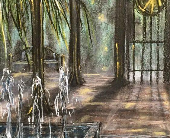 Avond in het Park (Zuid-Spanje), pastelkrijt (kleurecht en UV bestendig) op ingres papier, 45 cm x 30 cm, 2015