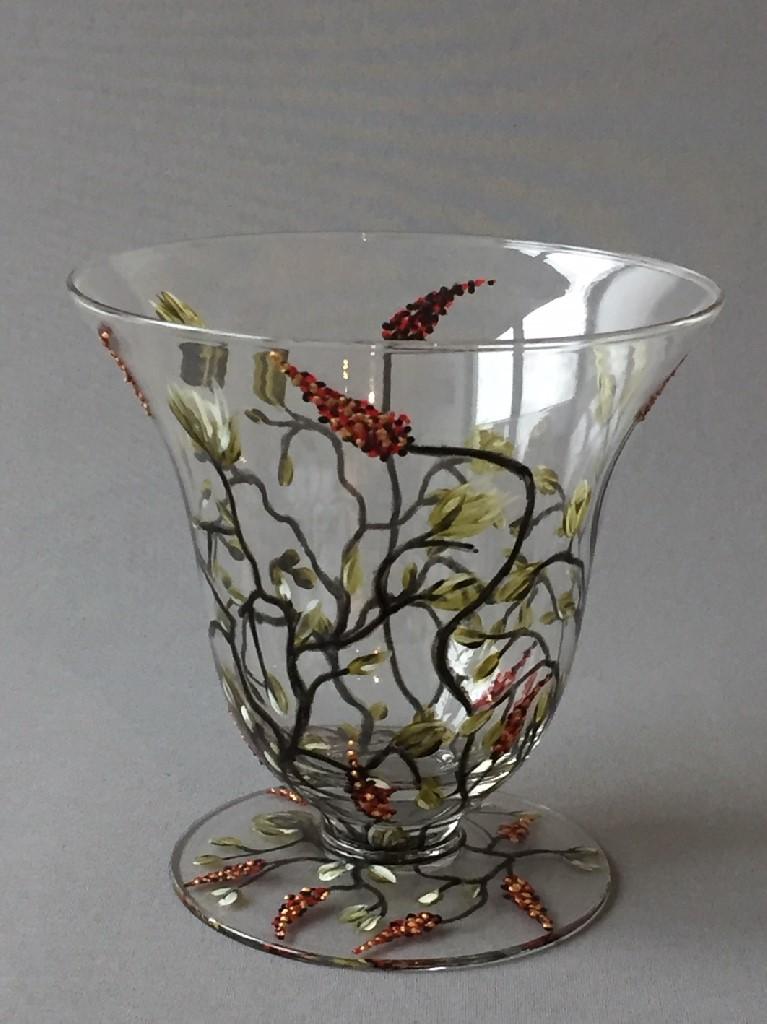 Bokaal Fairy Nights (laag), gebrandschilderd glas, 16 cm x 16 cm, 2018