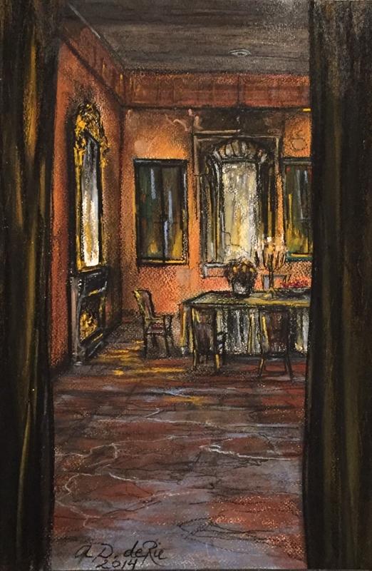 Doorkijkje Huiskamer Landhuis, (Zuid-Spanje), pastelkrijt (kleurecht en UV bestendig) op ingres papier, 45 cm x 30 cm, 2014