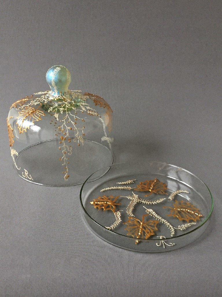 """Stolp """"Neige"""" (tweedelig), gebrandschilderd glas,18 x19 cm, 2019, VERKOCHT"""