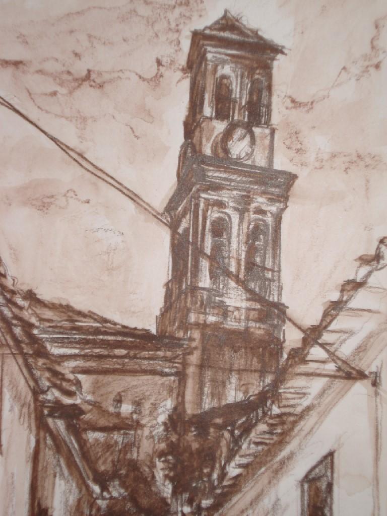 Old Town II, Marbella (Spanje), Sepia krijt & potlood, 40 x 30 cm, 2007, VERKOCHT