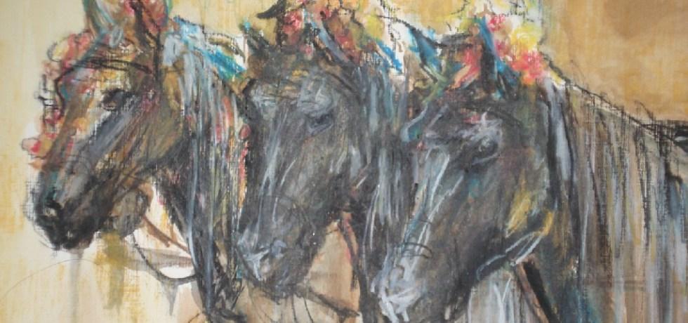 Fiesta Paarden, Marbella (Spanje), Gemengde techniek (Sepia krijten & aquarel), 40 cm x 30 cm, 2007, VERKOCHT