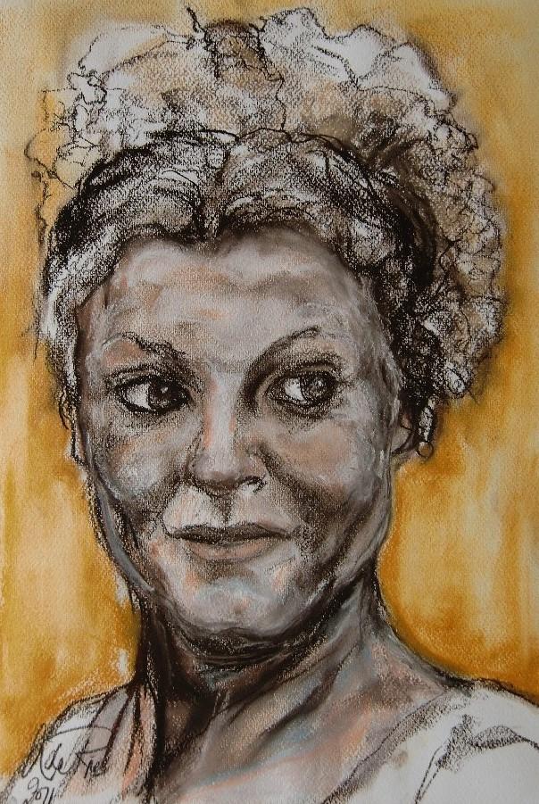Novia (Bruid) (Marbella), pastel & conté op canvaspapier, 50 x 40 cm, 2011