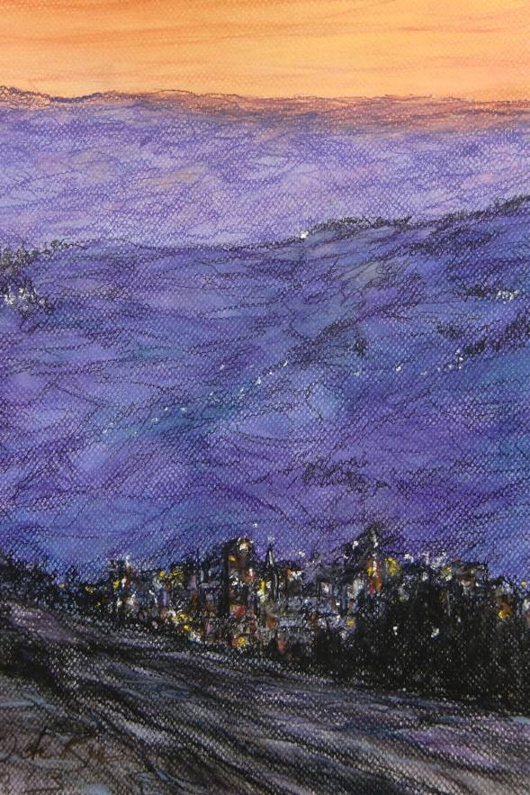 Berg in Avondblauw (Andalucia), pastel en conté op canvaspapier, 45,5 x 30,5 cm, 2013