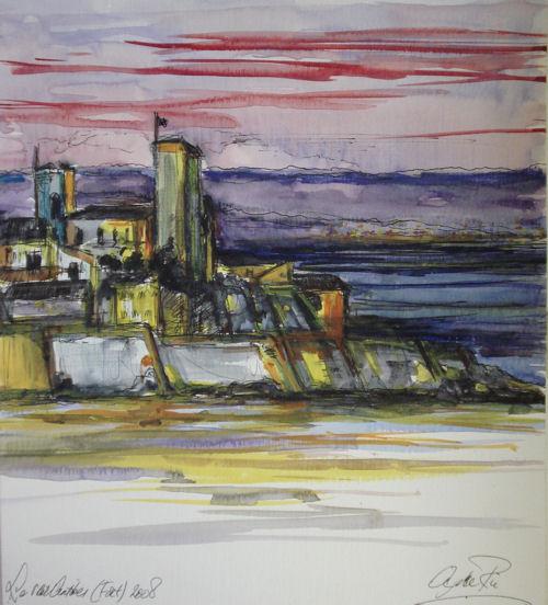 Vieille Antibes III (Fort), Aquarel & inkt, 29 x 28 cm, 2008, VERKOCHT