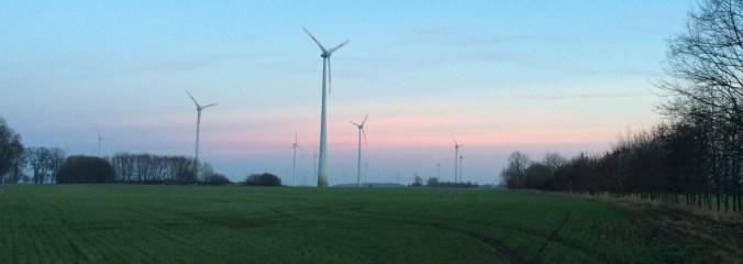 Windkraftwerke vor Abendhimmel