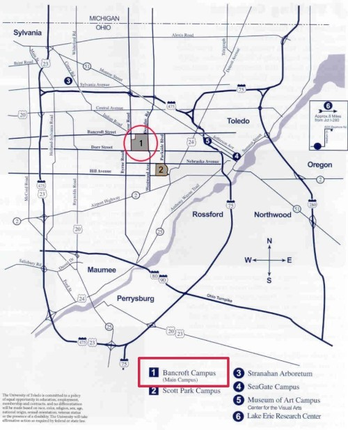 Utoledo Campus Map : utoledo, campus, NSF-REU, Summer, Research