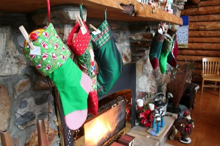 Far left is Bannack's new stocking that his Grandma Casey made for him.
