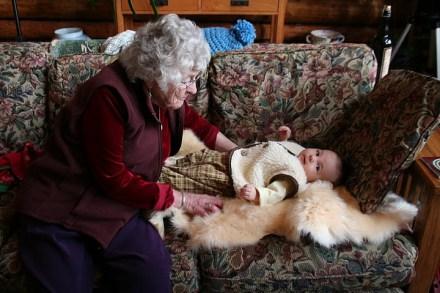 Grandma Irene joined her great great grandson on Christmas.