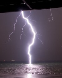 A Lightning Bolt Hits Water, So Close You Can See Its ...