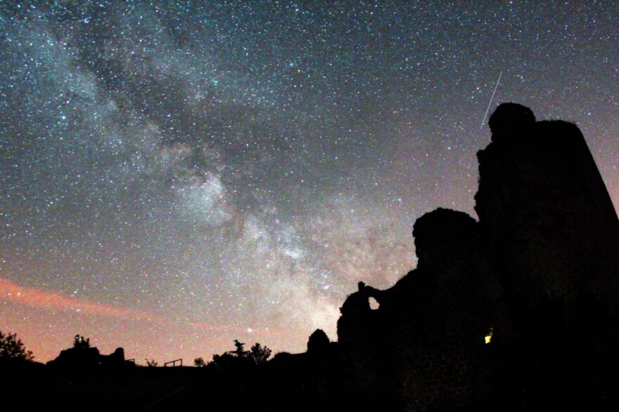 Milkyway with silouetted castle