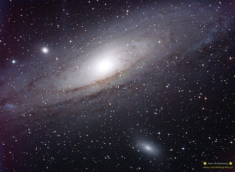 M31 - Jodłów. Teleskop C6N (Newton 150/750) Korektor komy MPCC - ISO800 22x220sekund, 300D, autoguide via GuideMaster, montaż Vixen GPD2.