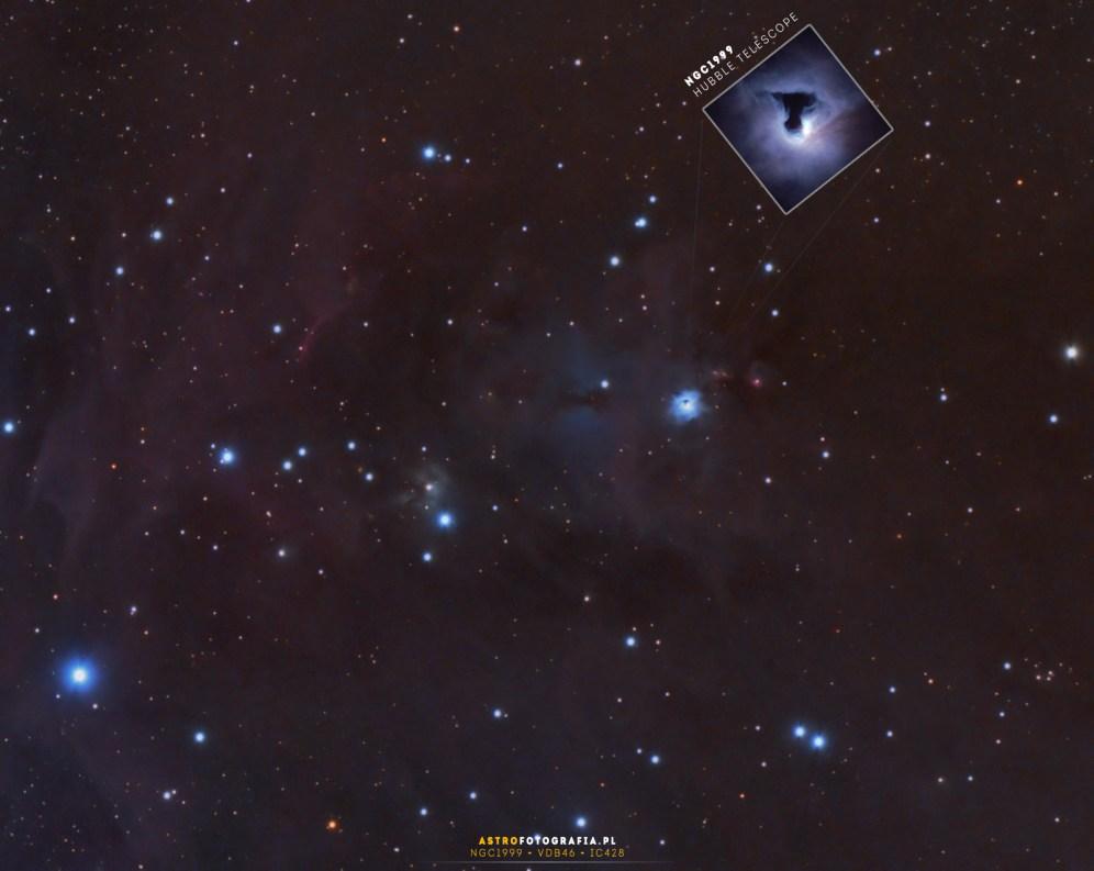 Wycinek zawierający mgławicę NGC1999 - na górze jej zdjęcie z teleskopu Hubble.