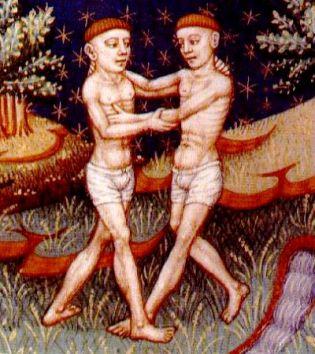 Géminis, ilustración de un libro de astrología medieval, siglo XV, autor desconocido