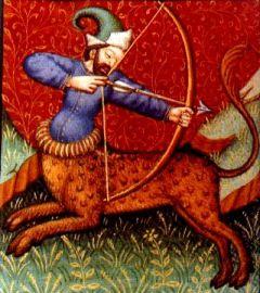 Sagitario, ilustración de un libro de astrología medieval, siglo XV, autor desconocido