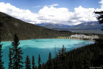 The view from the Lookout trail back at the Lake. Named Lake of the Little Fishes by the Stoney Nakota First Nations people, is a glacial lake within Banff National Park in Alberta, Canada