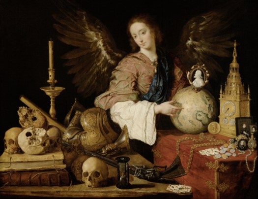 Pluto in Houses of Birth Chart: An angel holding the globe is sitting at a desk, with skulls, clocks and candles on it.