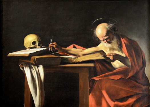 Pluto Houses in the Birth Chart: an old scholar is reading and writing, with a skull resting on his books.
