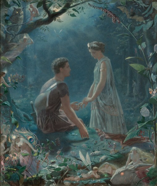 Neptune in 3rd House, 6th House, 9th House, 12th House: Romantic painting of a girl standing and a boy sitting, looking at each other, in an enchanted jungle.