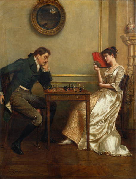 Saturn in Gemini: A man and a woman are sitting in front of each other, looking down at a chess board.