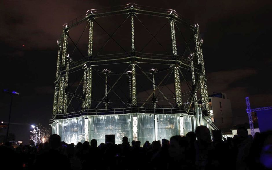 Historic Gasholder Technopolis Athens by night