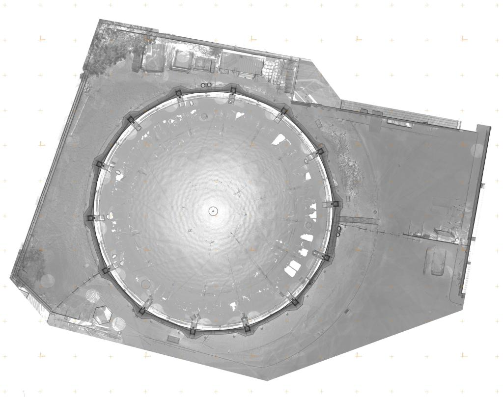 Historic Gasholder 3D Documentation plan view grey