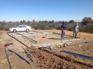 Preparation for cement pad.