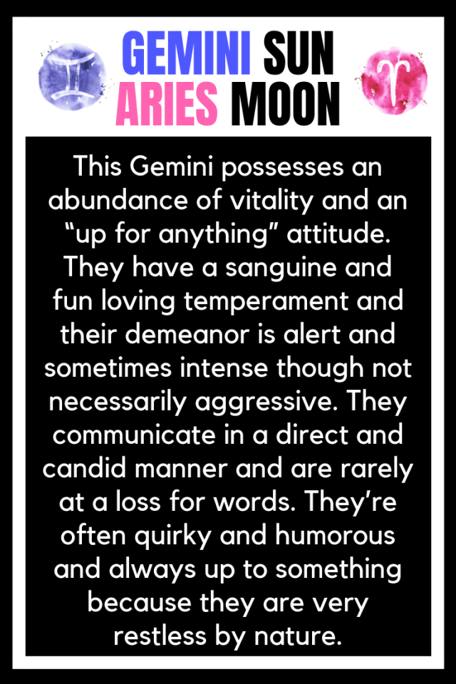 SUN IN GEMINI MOON IN ARIES PERSONALITY