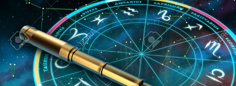 31970845-Wheel-of-the-zodiac-and-telescope-over-a-sky-background-Digital-illustration--Stock-Illustration