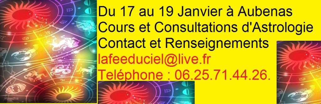 Astrologie Itinérante : Du 17 Au 19 Janvier en Ardèche