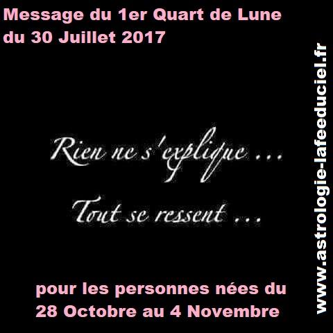 Message du 1er Quart de Lune du 30 Juillet 2017 pour les personnes du 28 Octobre au 4 Novembre