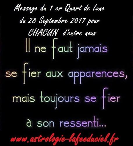 Message du 1er Quart de Lune du 28 Septembre 2017 pour CHACUN d'entre nous