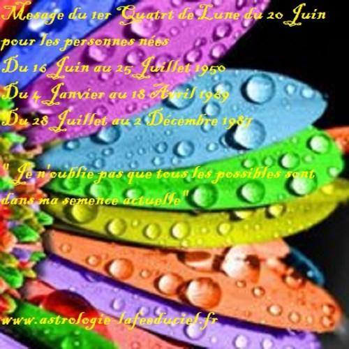 Message du 1er Quart de Lune du 20 Juin 2018  pour les personnes nées  Du 16 Juin au 25 Juillet 1950 Du 4 Janvier au 18 Avril 1969 Du 28 Juillet au 2 Décembre 1987