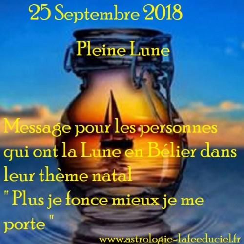Message de la Pleine Lune du 25 Septembre 2018 pour les personnes qui ont la Lune en Bélier dans leur thème de naissance