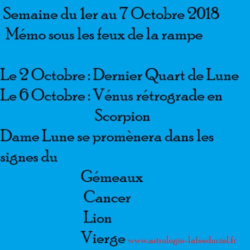 Mémo Sous les feux la rampe Semaine du 1er au 7 Octobre 2018