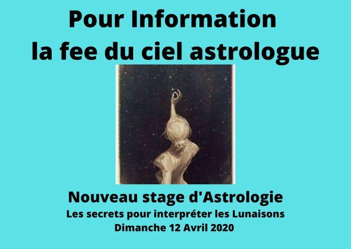 """Pour Information Nouveau Stage d'Astrologie """" Les secrets pour interpréter les Lunaisons"""""""