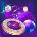 Uhr mit Sternenhintergrund