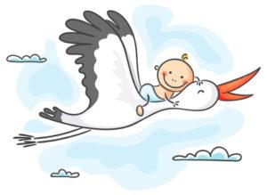 Storch bringt ein Baby
